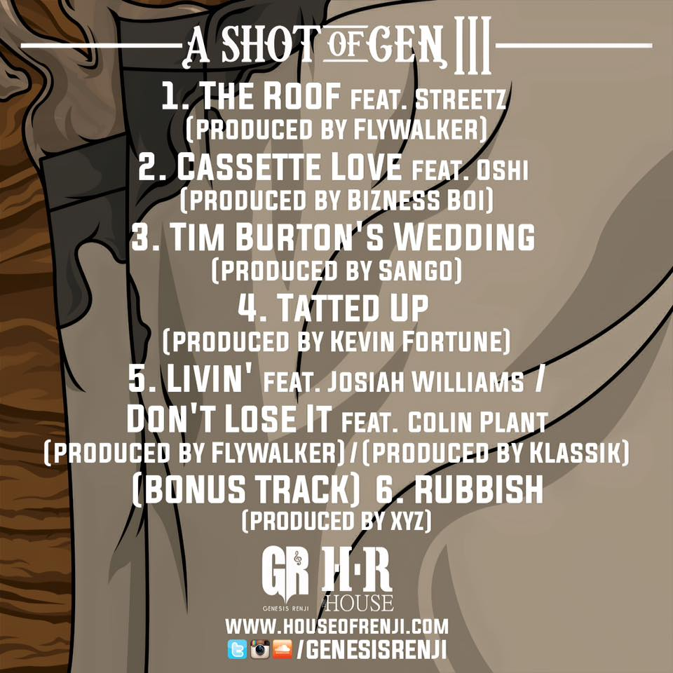 Genesis Renji - A Shot of Gen 3 EP tracklist back cover art