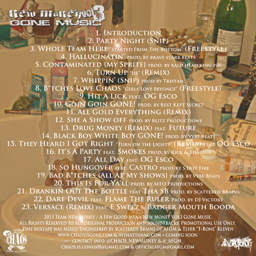 Chaos NewMoney - New Money Vol. 3 tracklist
