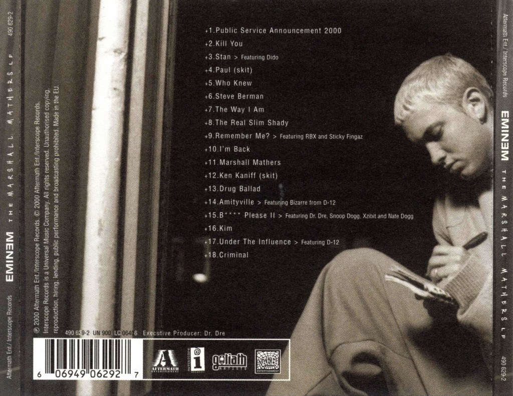Eminem The Marshall Mathers LP tracklist cover art Basement Made