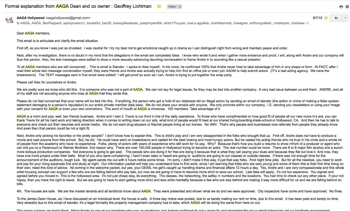 Geoffrey Lichtman response to Andre Bautista allegations